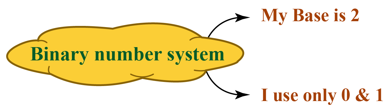 Binary number system has a base 2 and uses only 0 and 1, base 10 number system