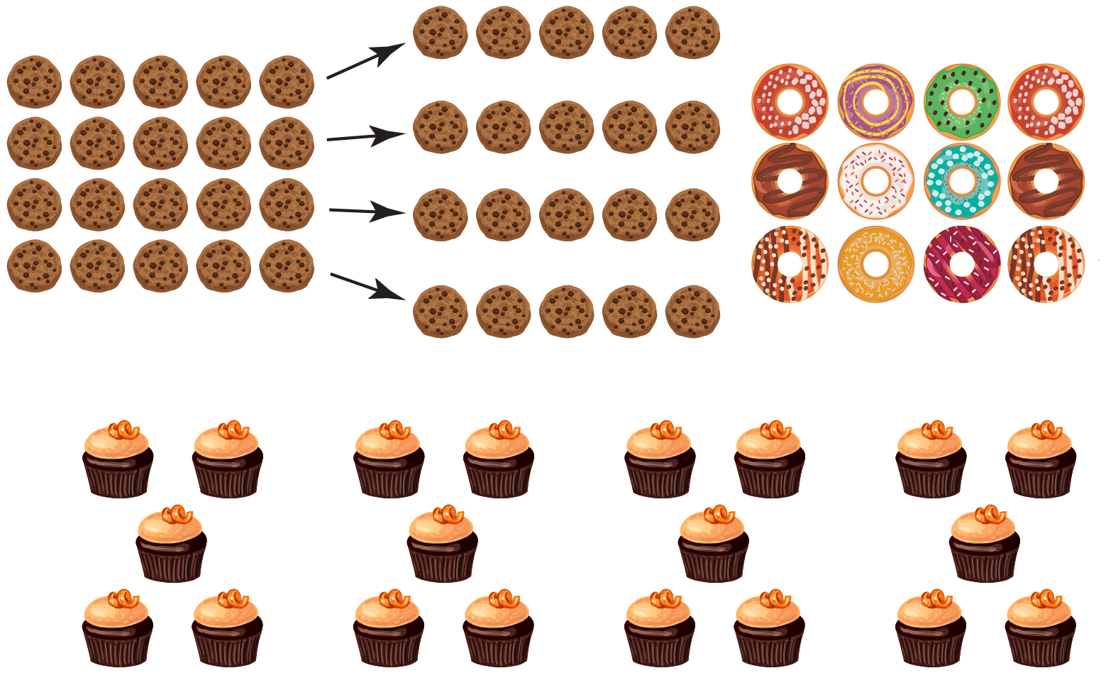 Cookies, muffins, and donuts have to be divided equally between four children