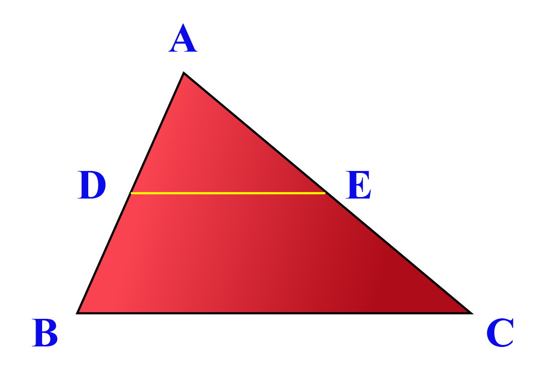 Image of a triangle with midsegment