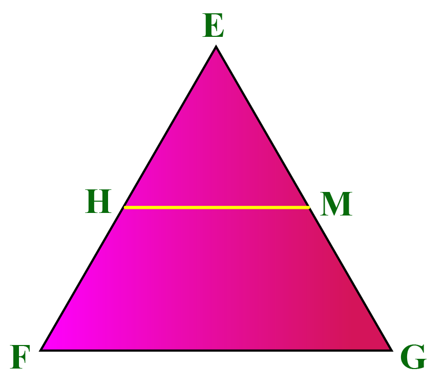 Triangle EFG with HM midsegment