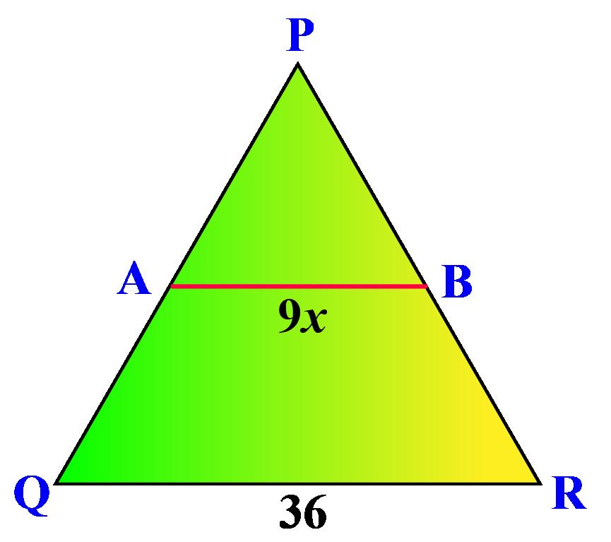 Triangle PQR with midsegment AB