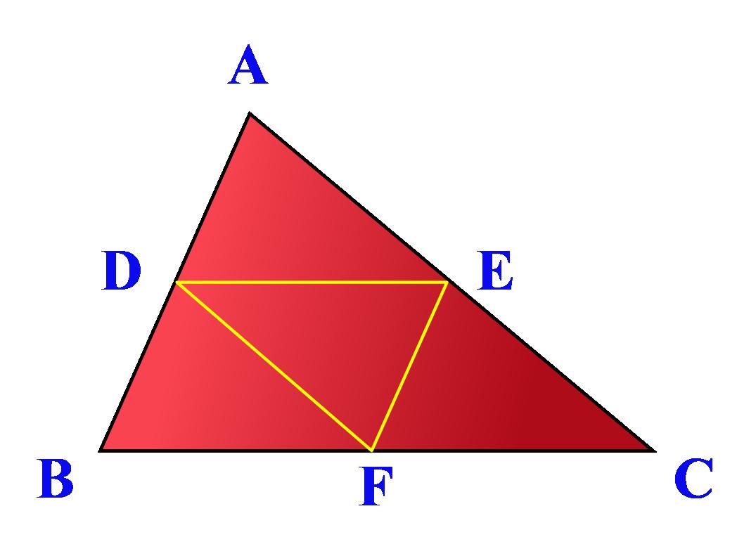Triangle ABC with three midsegments