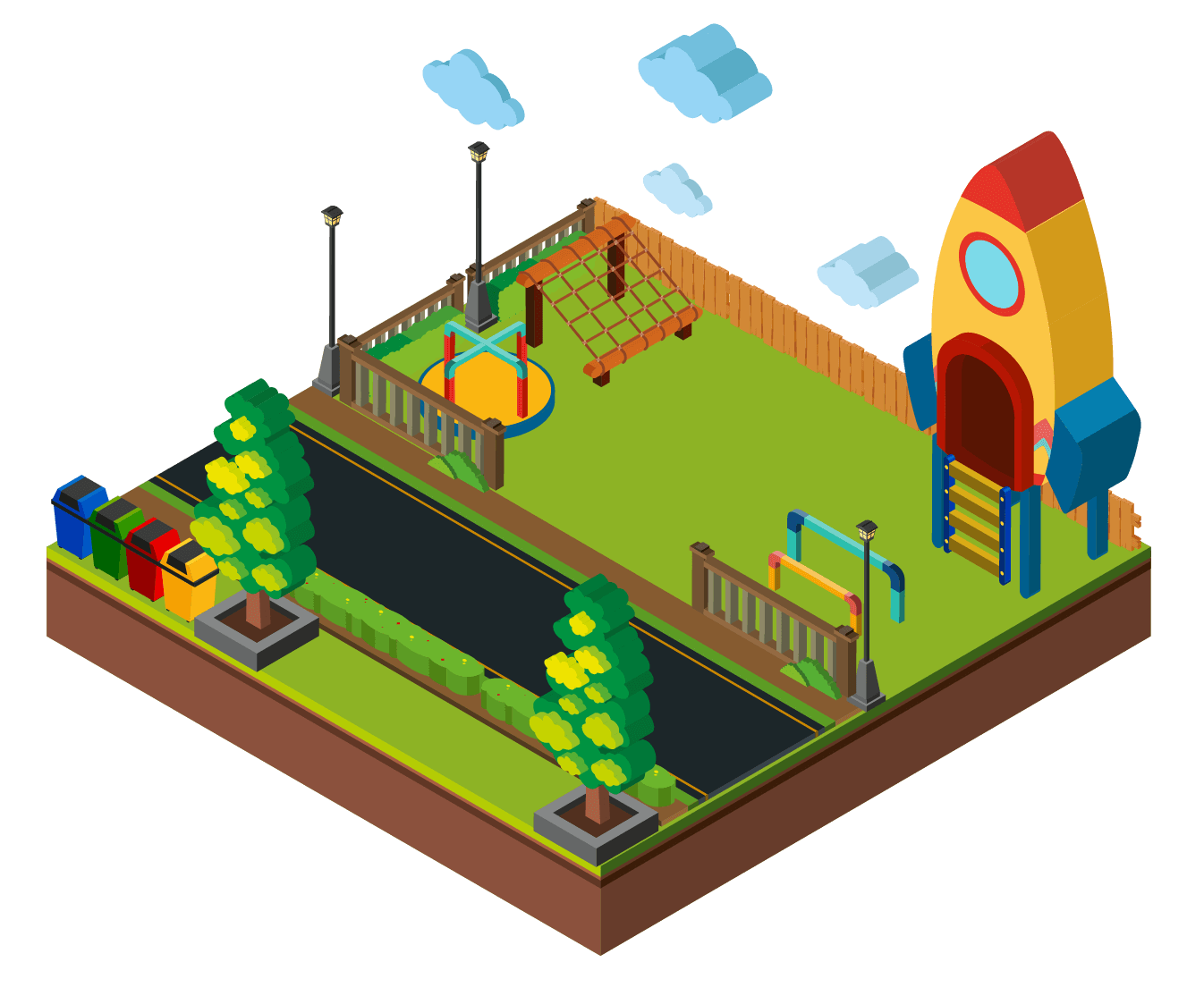 Square-shaped park