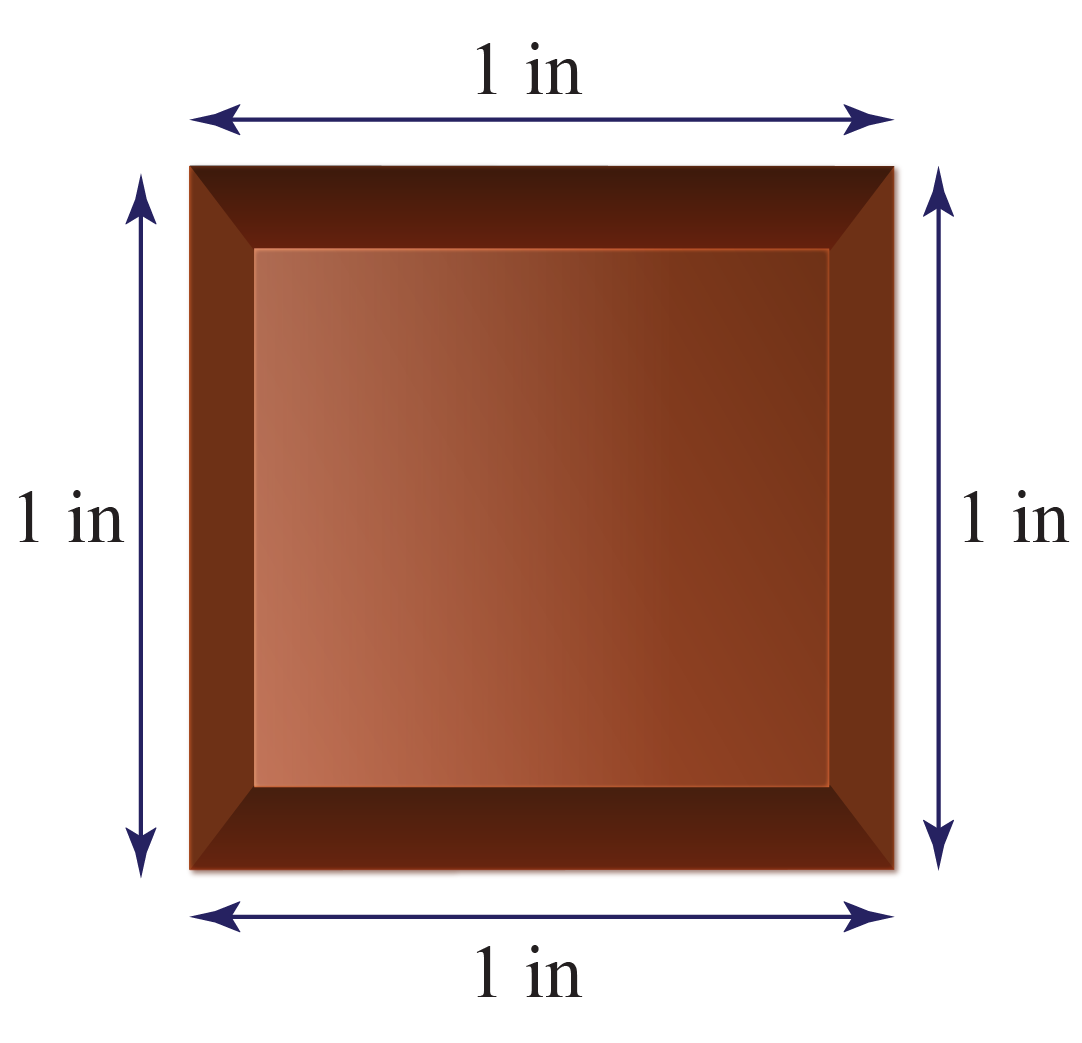 Chocolate piece with dimensions