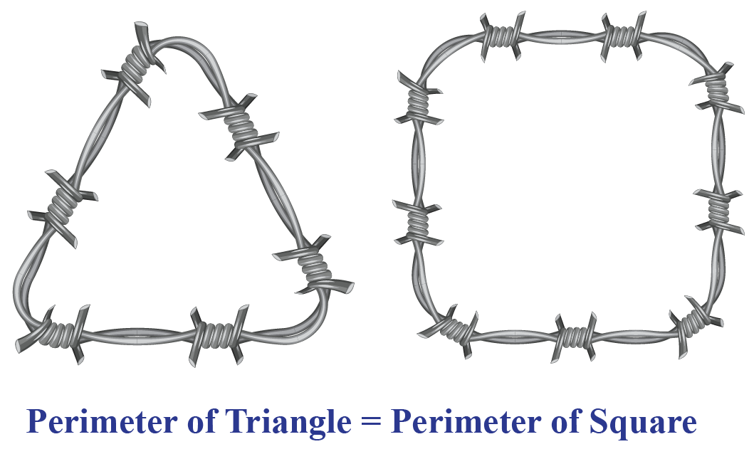 Example of a wire used to frame triangle and square to show equal perimeter.