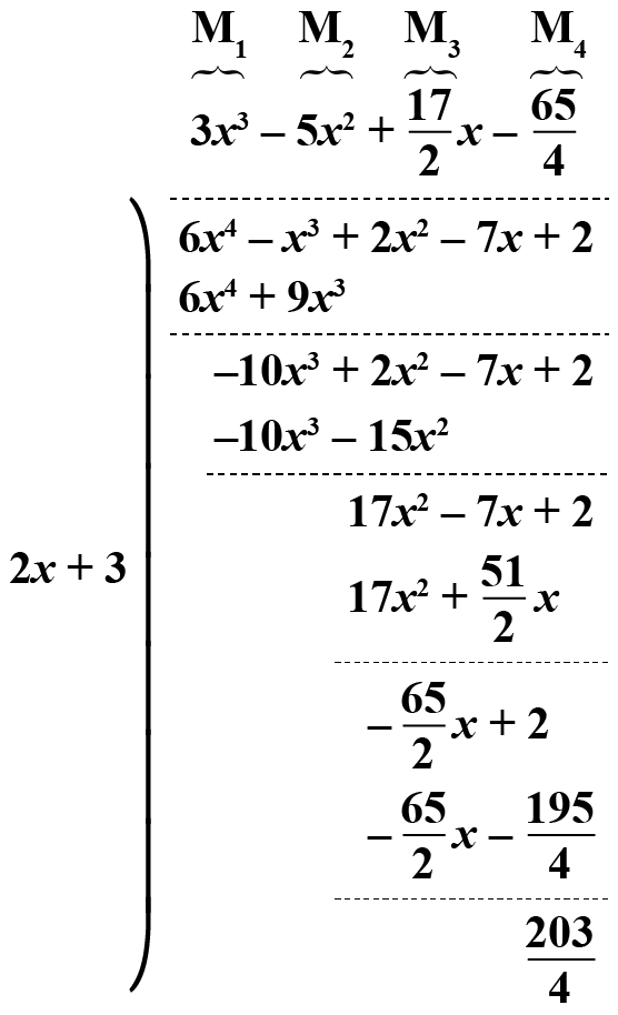 Dividing two polynomials