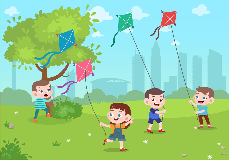 Kids fyling kites