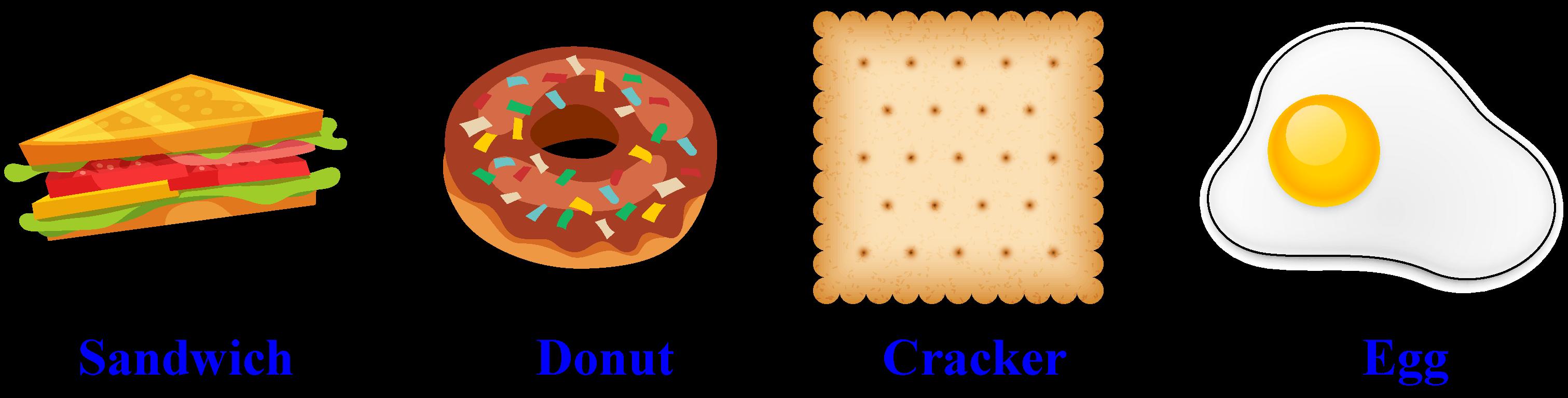 Shapes around us - A half-sandwich, a donut, a cracker, a fried egg