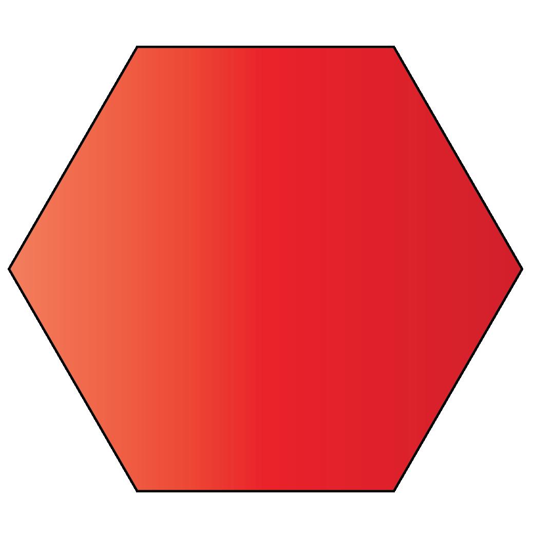 A hexagon is a 2D shape