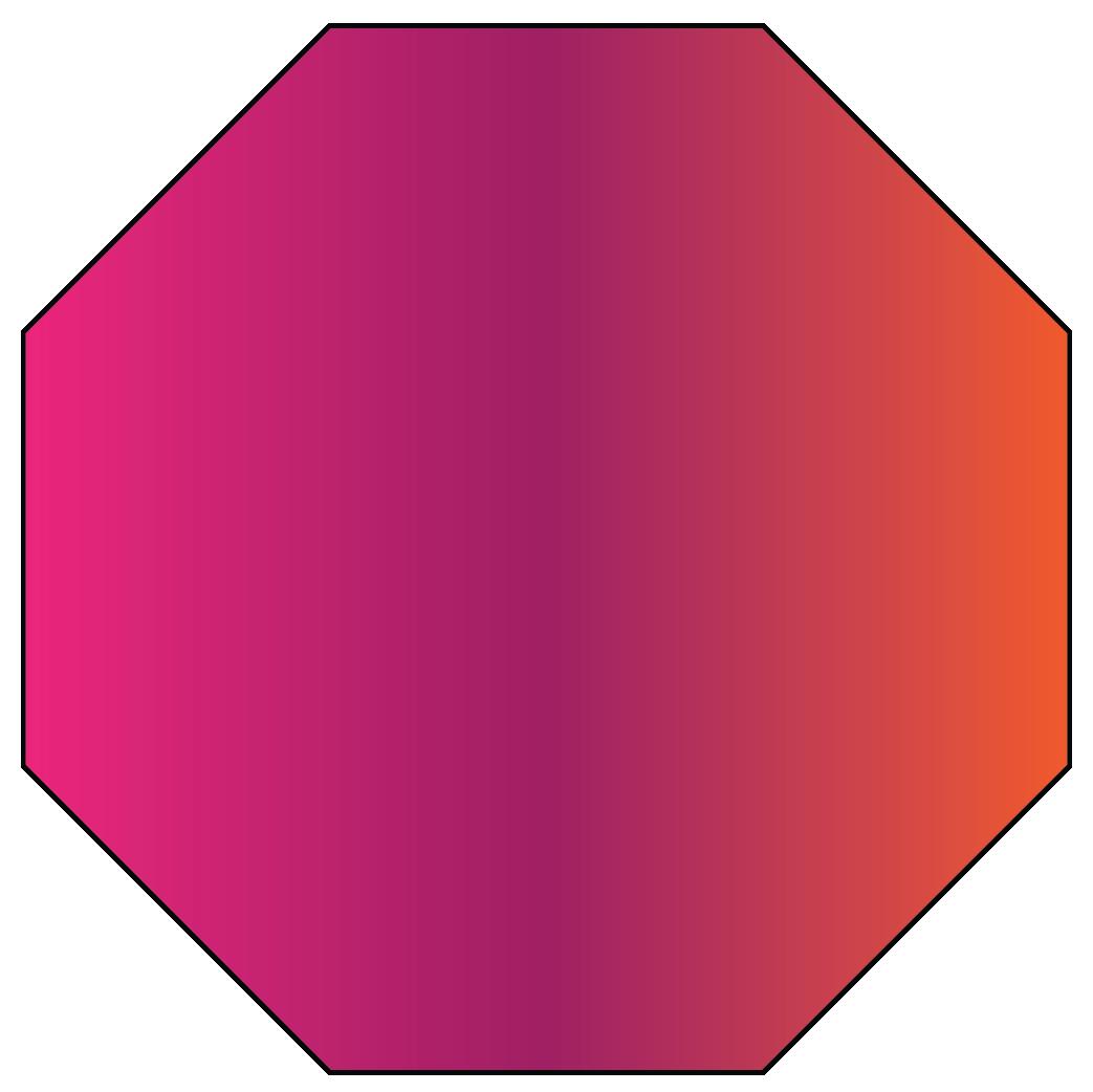 An octagon is a 2D shape