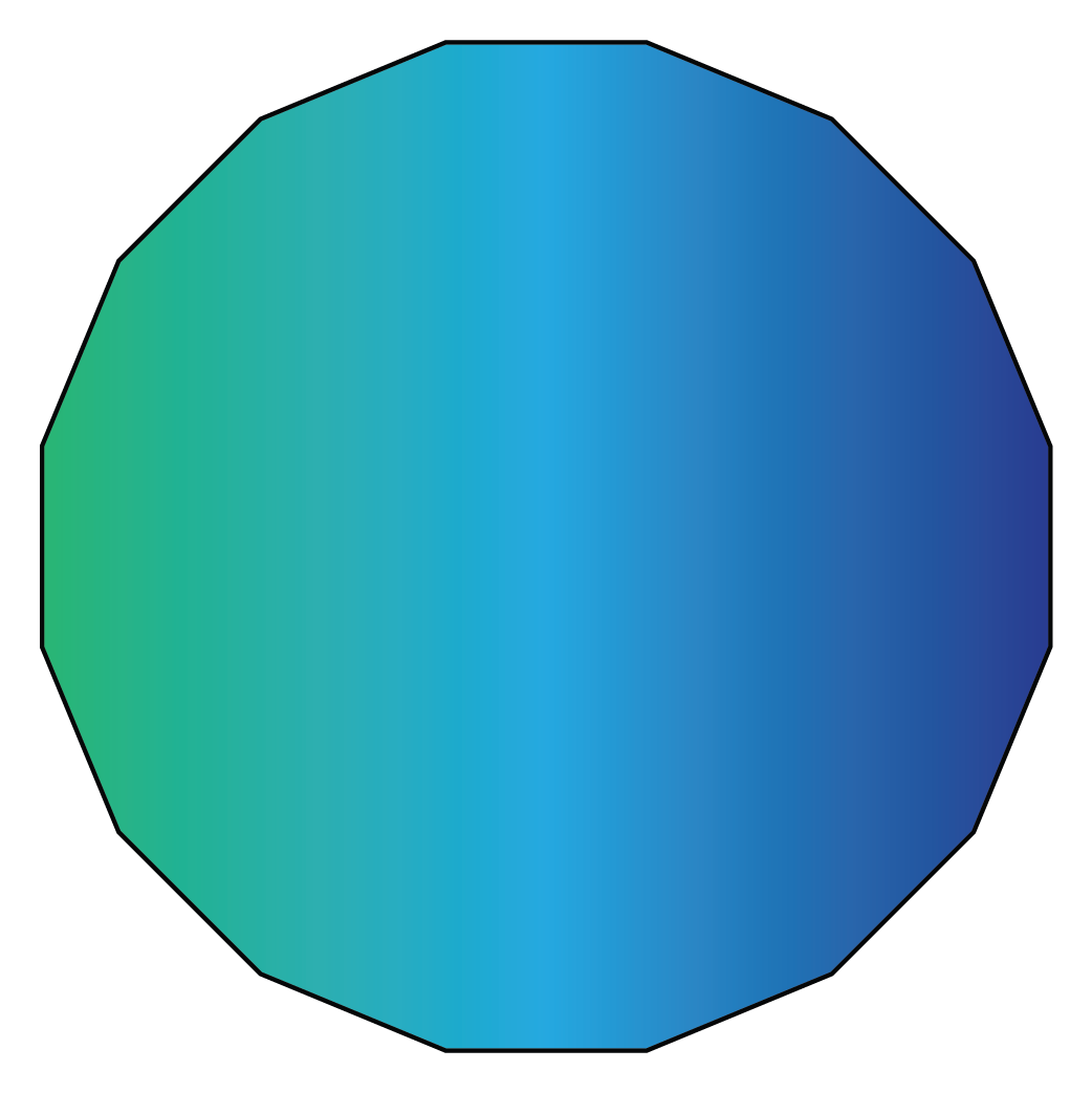 A hexadecagon is a 16 sided polygon
