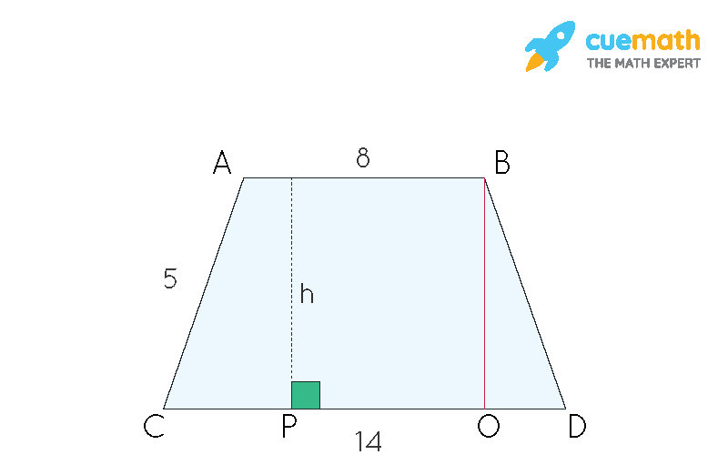 How to find the height of an isosceles trapezoid given below,without the area?