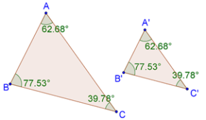 two similar polygons(triangles), whose corresponding angles are equal