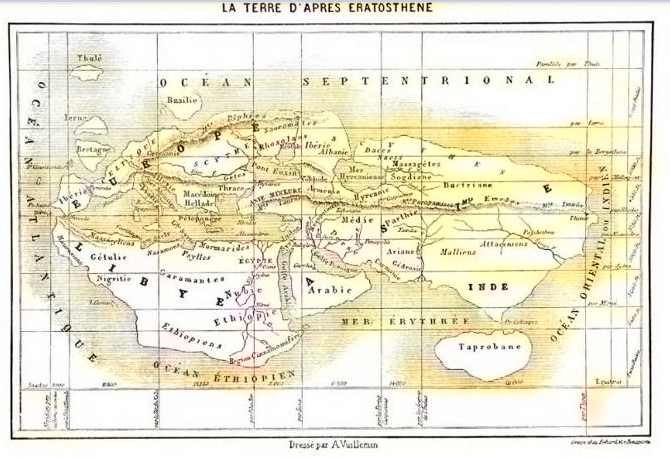 world map by erastothenes: meridians to locate any place on the map