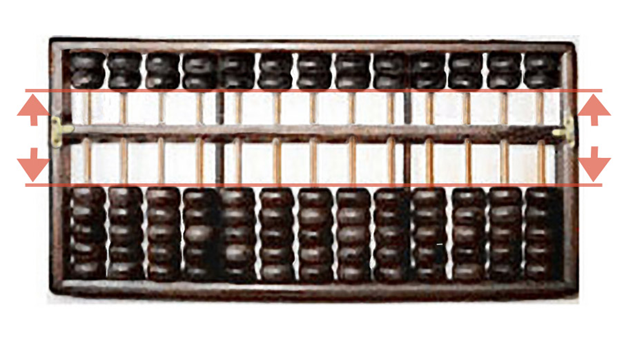 """The abacus is ready to be used (""""zeroed"""")"""