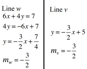equation for line w and v