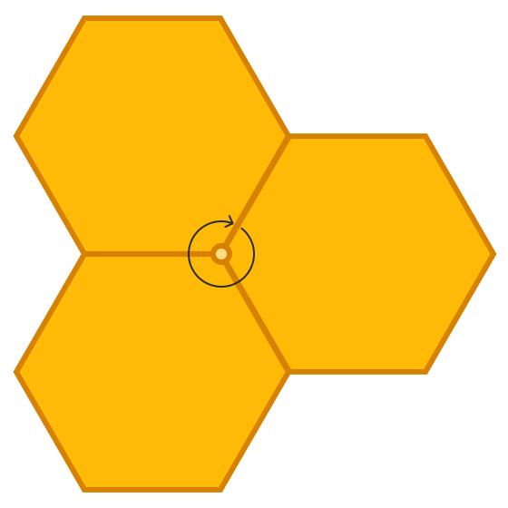 three hexagons