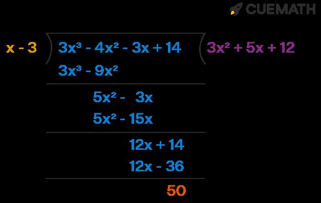 Remainder when f(x) is divided by (x - k). f(x) = 3x3 - 4x2 - 3x + 14; k= 3