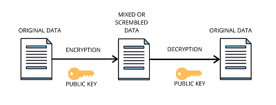 use of public key in the block diagram of encryption and decryption