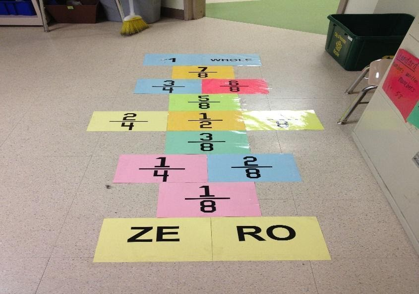Fraction hopscotch! I want to do this with multiplication ...