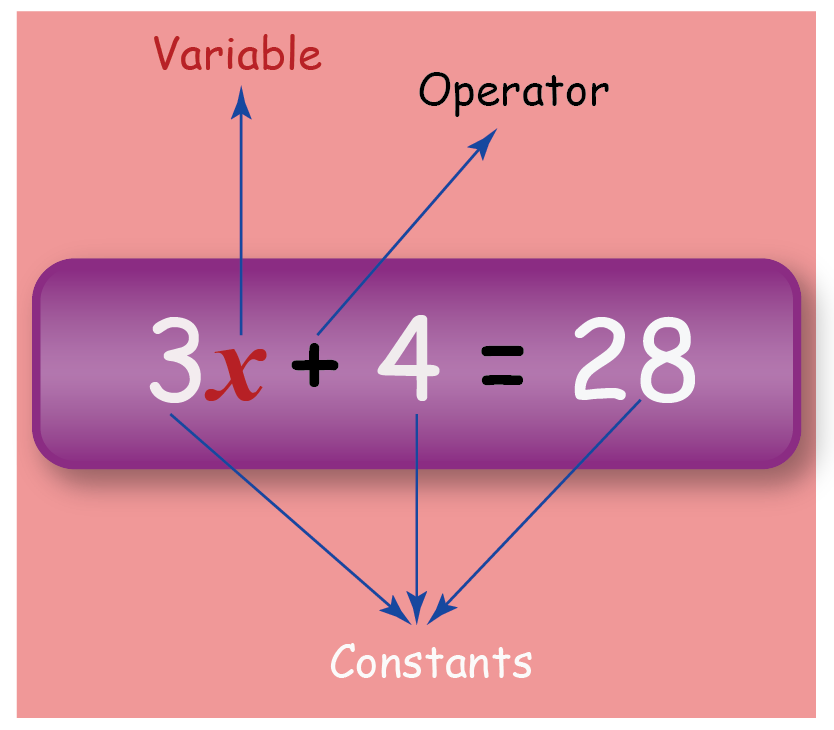 image showing the parts of an algebraic equation
