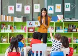 teacher teaching English alphabets to kids