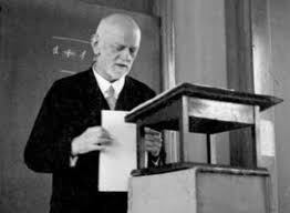 David Hilbert giving  a lecture at an event