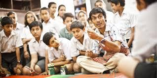 teacher narrating stories to kids