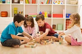 Kids playing block games