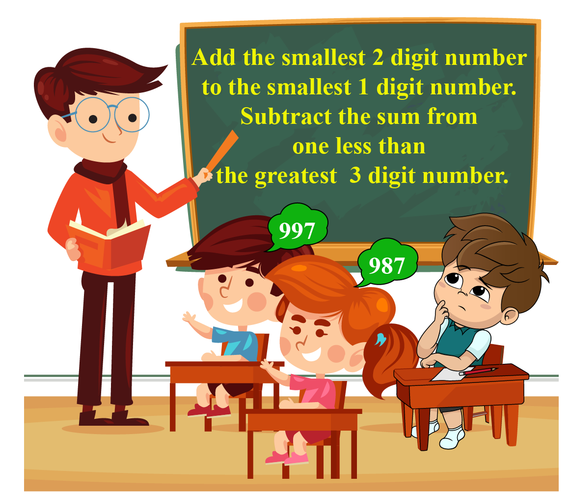 A teacher writes a problem on a board. The problem states add the smallest 2 digit number to the smallest 1 digit number. Subtract the sum from one less than the greatest 3 digit number.