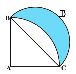 In Fig. 12.33, ABC is a quadrant of a circle of radius 14 cm and a semicircle is drawn with BC as diameter. Find the area of the shaded region