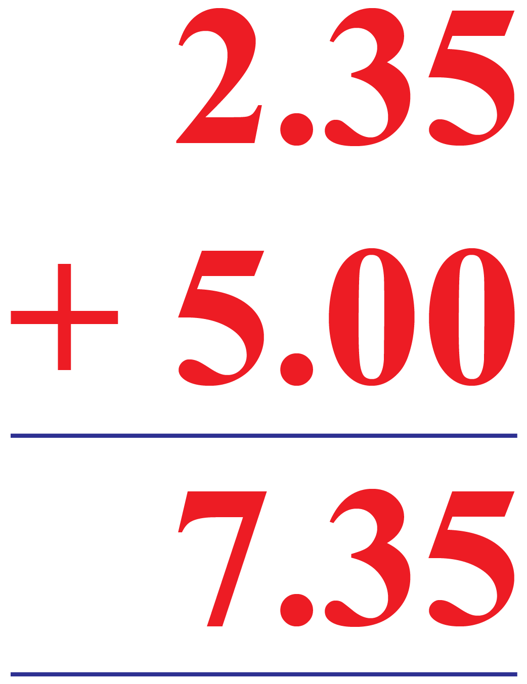 Addition of Decimal Number to Whole Number: Example