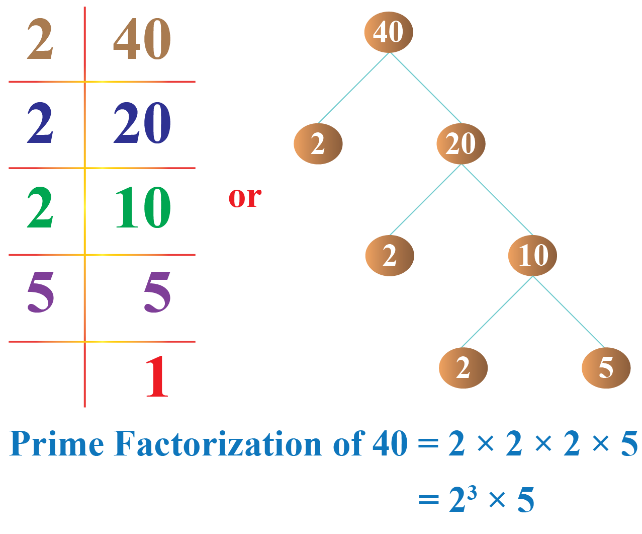prime factorization of 40