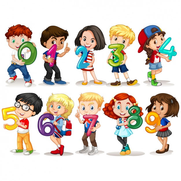 Kids with number design - 1, 2, 3, 4, 5, 6