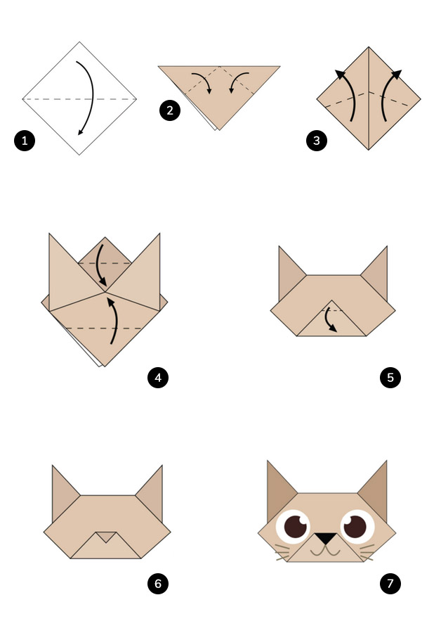steps to make a cat face origami