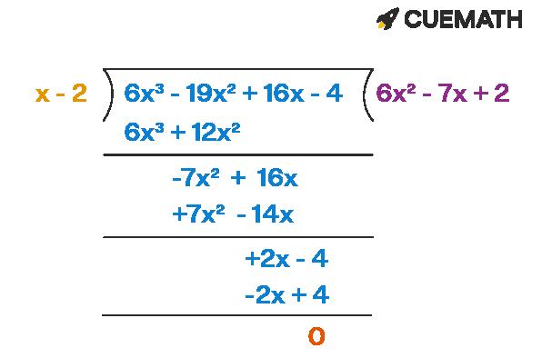 The value of f(x) over g(x) when f(x) = 6x³ − 19x² + 16x − 4 and g(x) = x − 2 is 6x² - 7x + 2.