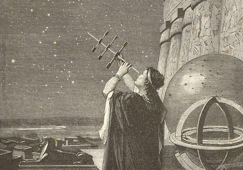A photograph of Hypatia star gazing