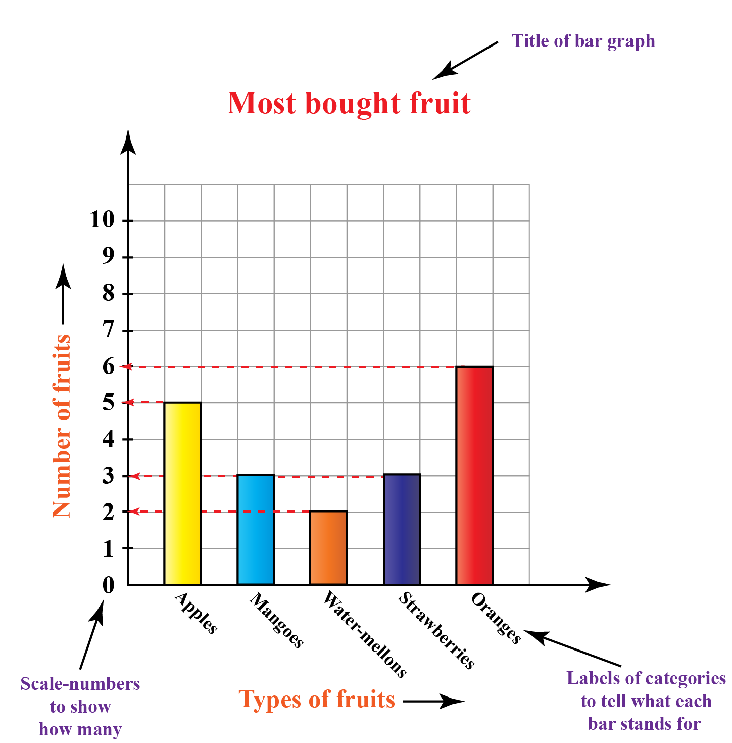 Representation of example of fruits in terms of bar graph