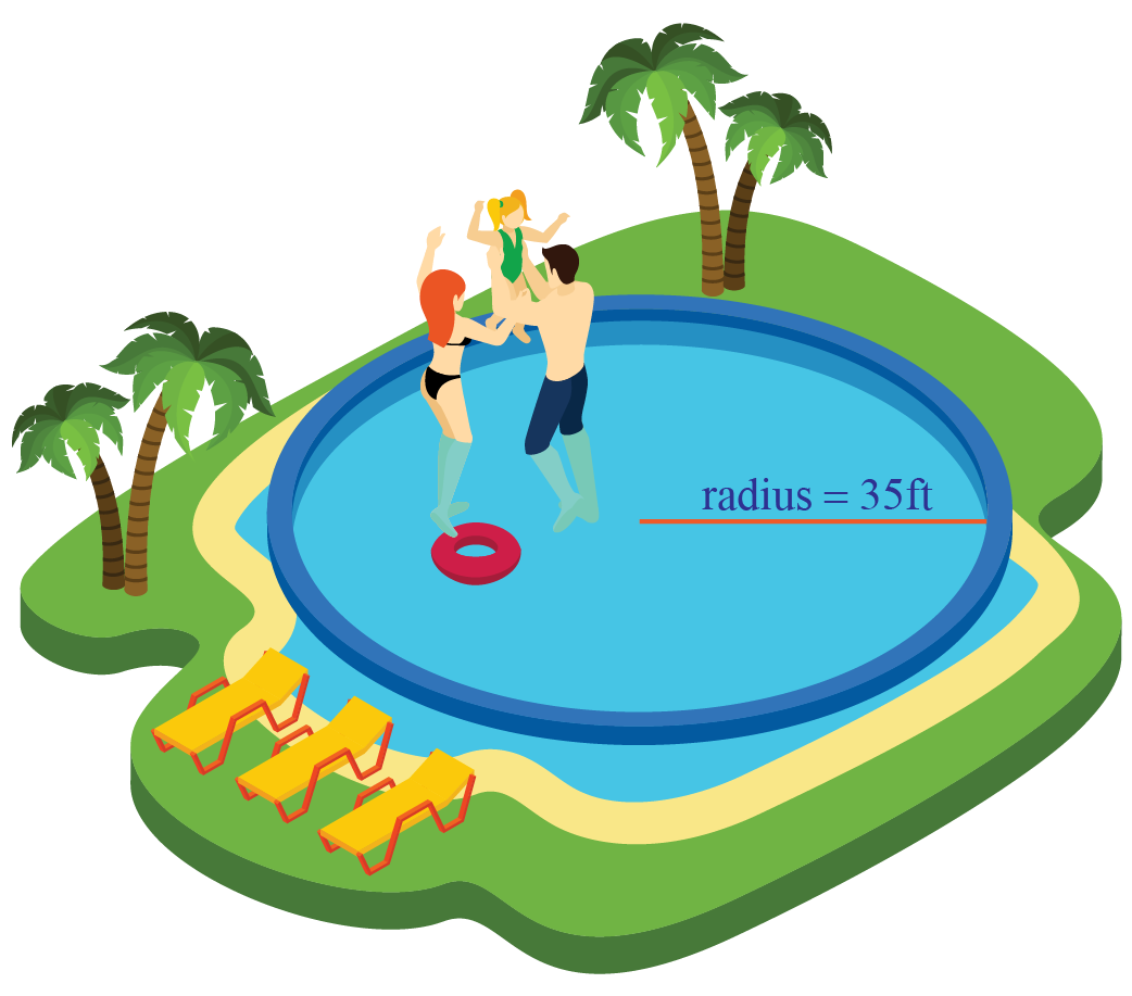 Swimming pool with a ball inside and a boy outside