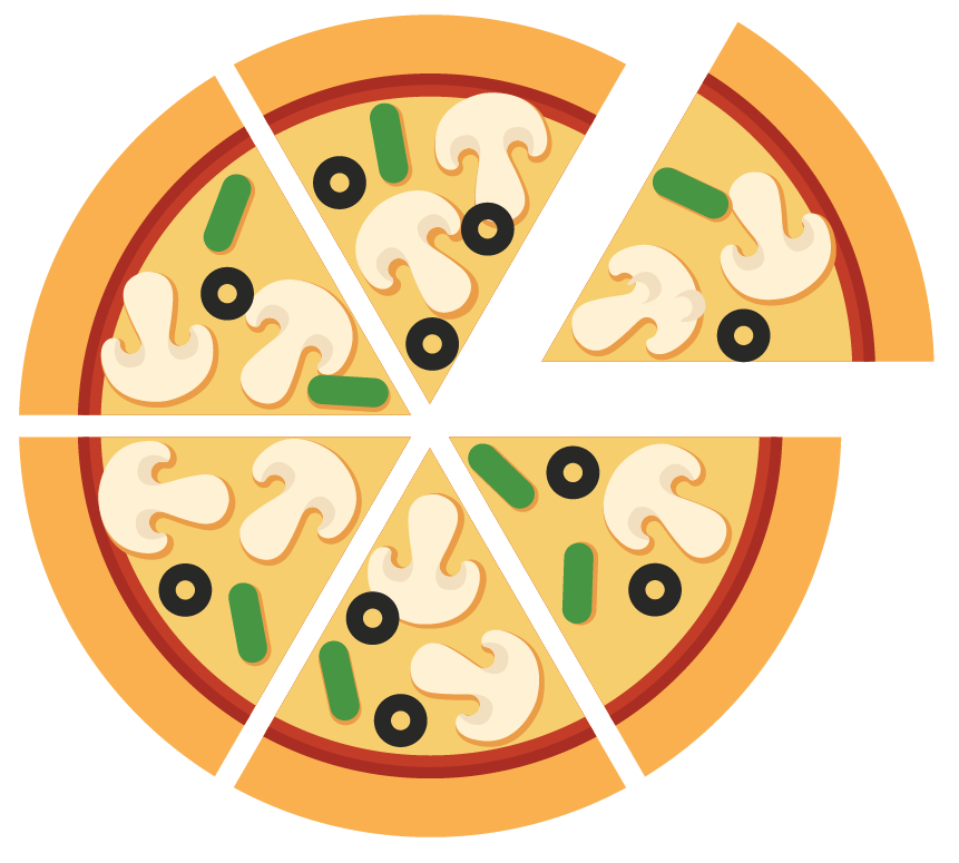 Solved examples on Denominator: The pizza is divided into 6 slices and find the denominator
