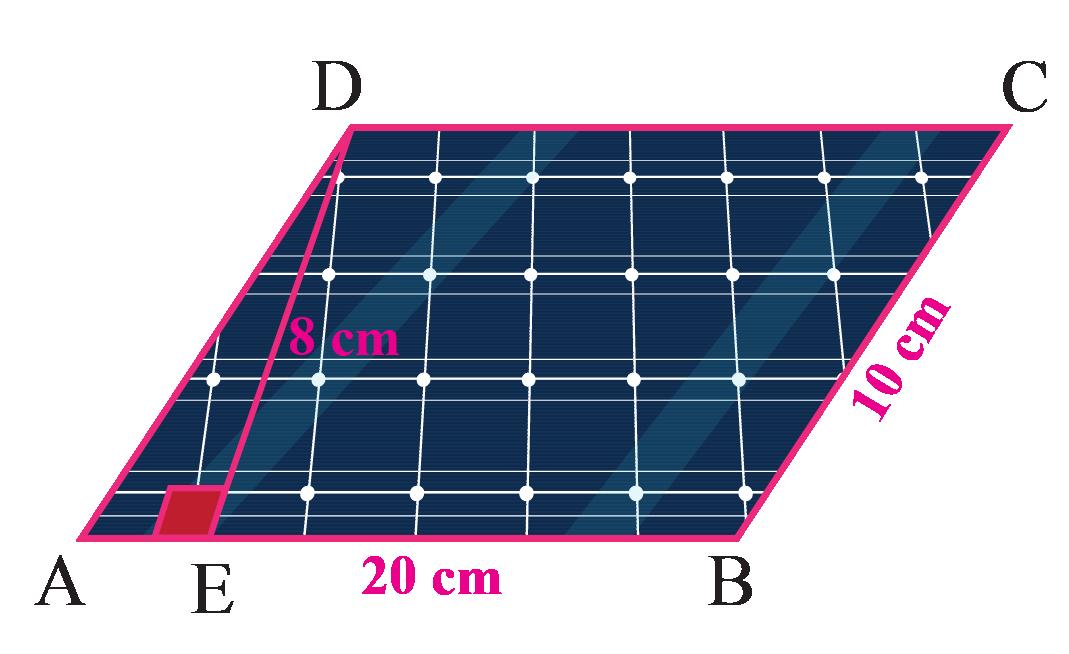 Area of solar tiles in shape of parallelogram