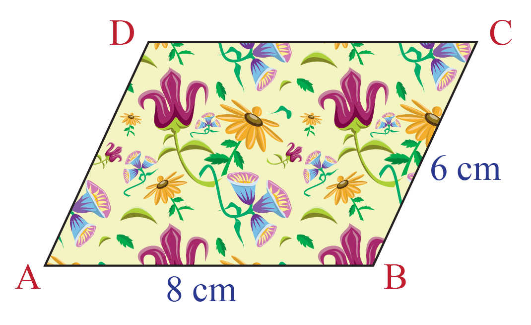 Area of a flowery tiles in shape of parallelogram