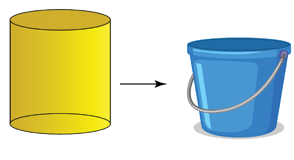 cylinder is a 3d shape - example of a bucket