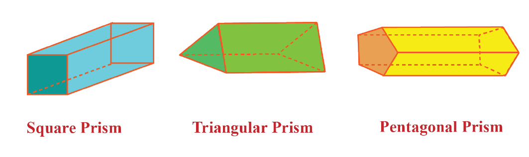 square, triangular, and pentagonal prisms