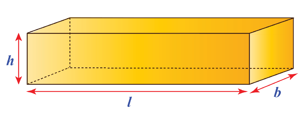 Cuboid of length, breadth, and height given as 3, 4, and 5 inches respectively.