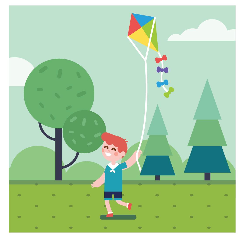 A boy is fling a kite.