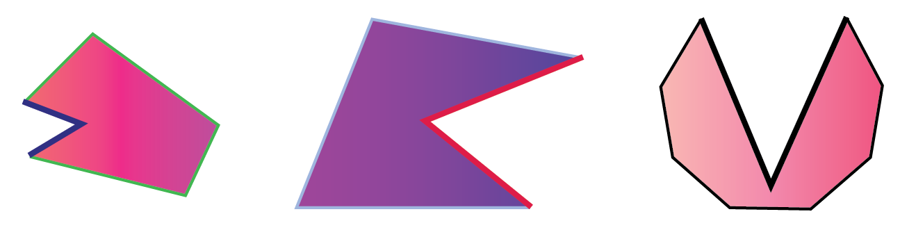 Three different examples of concave shapes with the two sides that are pointing inward highlighted in each shape.