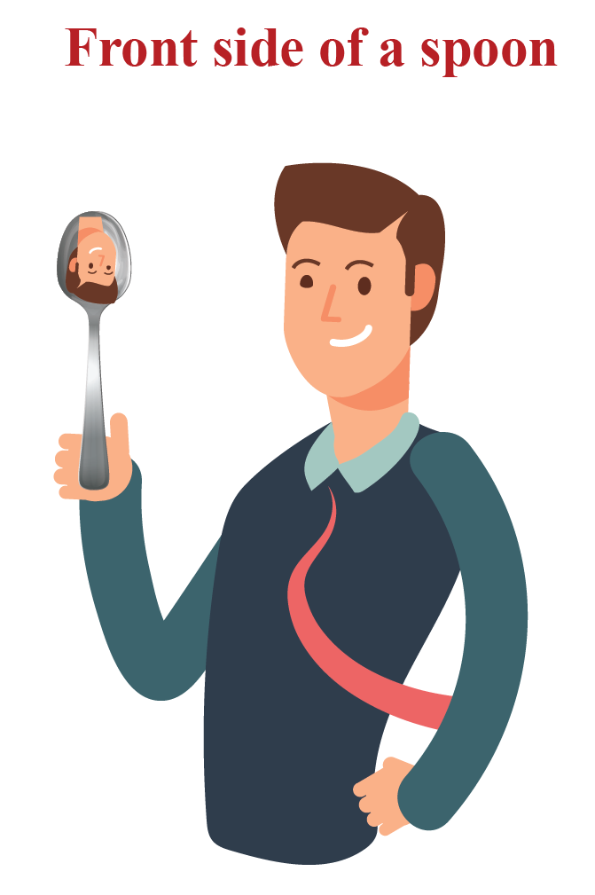 A man looking at his image on the front side of the spoon observes an upside down image of himself on the spoon. The front side of the spoon is an example of a concave shape.