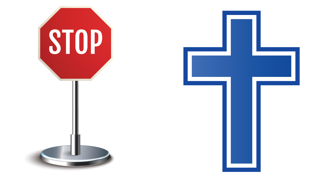 A stop sign is an example of a convex shape and a cross sign is an example of a concave shape.