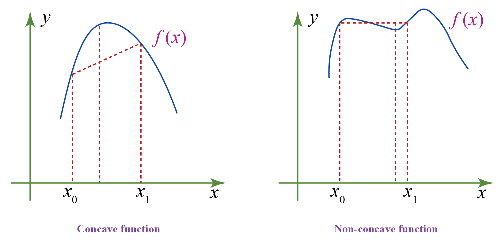 Concave and non-concave functions depicted on graph